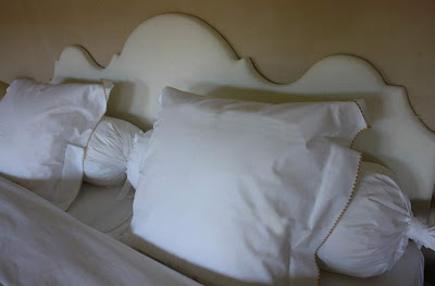 Custom headboard via Garnier Interiors ( 125 cm high x 200 cm wide) image via Garnier (be) website as seen on linenandlavender.net