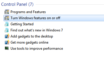 Turn Windows features On/Off from searching in start menu: Intelligent computing