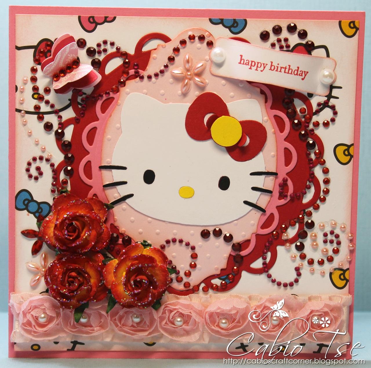 Cabios Craft Corner First Hello Kitty Birthday Card