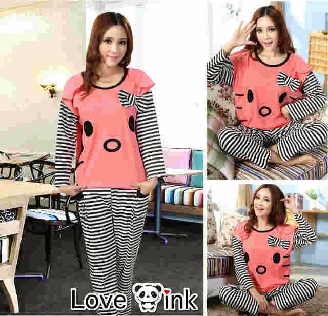 Pyjamas Hello Kitty Peach Tangan Salur.Love Ink.