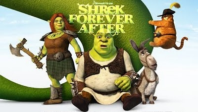 Shrek promotional shot featuring Shrek, Fiona, Puss and the Donkey from the alternate universe