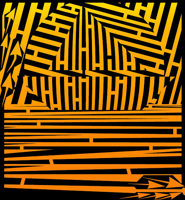 Maze of Sunset Sailing Yellow and Orange