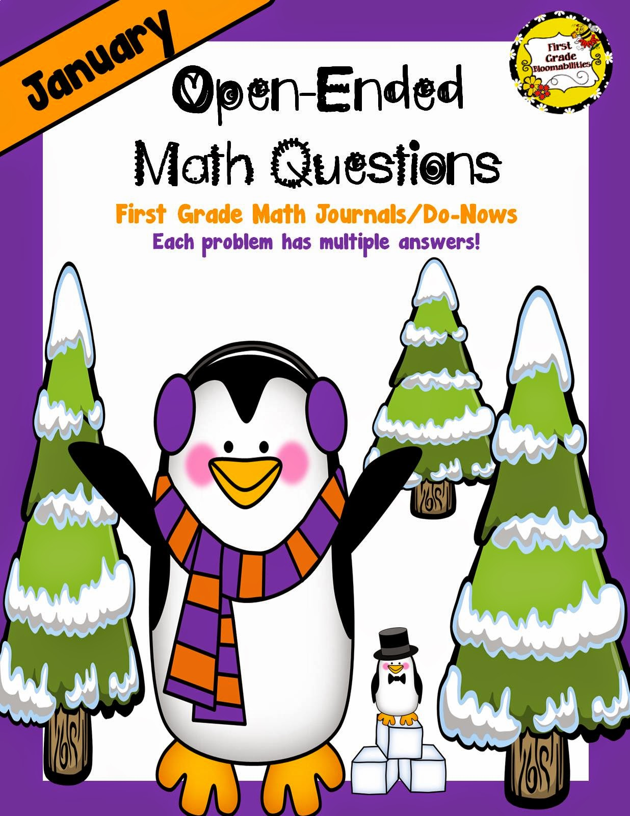http://www.teacherspayteachers.com/Product/January-Open-Ended-Math-Questions-for-Journals-or-Do-Nows-First-Grade-1600526