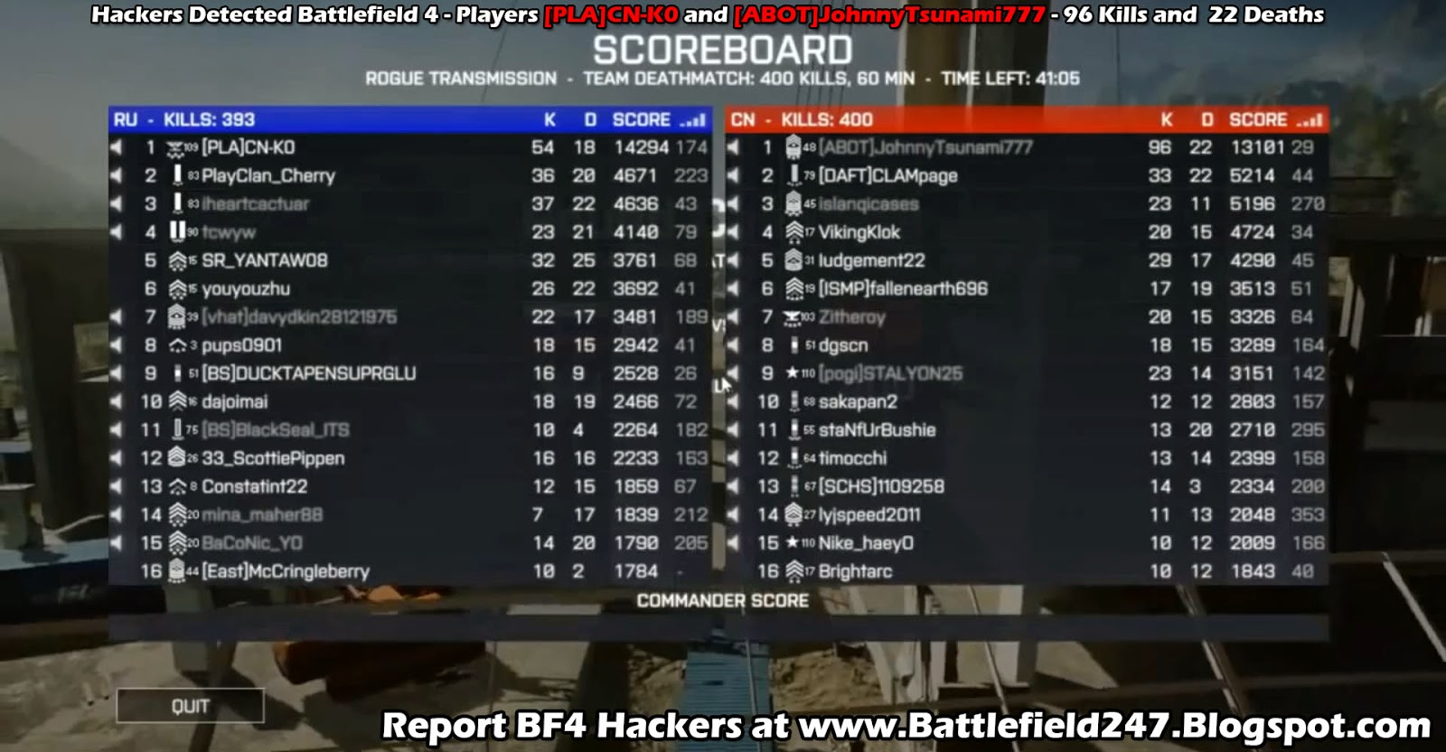 [PLA]CN-K0 and [ABOT]JohnnyTsunami777 BF4 Aimbot Cheaters Caught in Spectator Mode