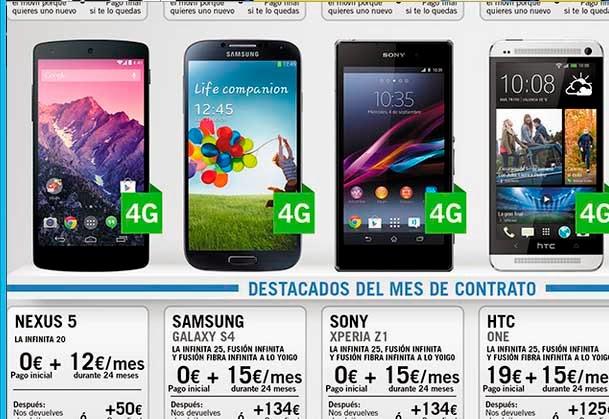 Precios de todos los móviles Yoigo en marzo 2014