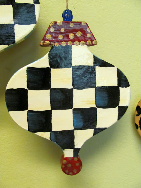 large black and white checked Christmas ornament