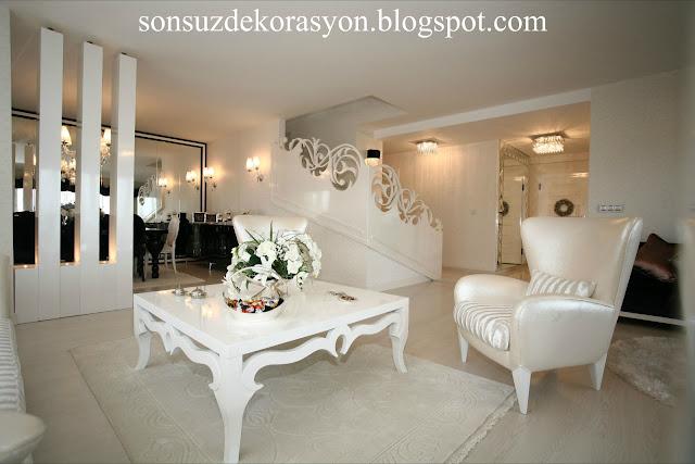 Beyaz salon dekorasyon örneği-salon dekorasyonu- salon takımı-beyaz mobilya