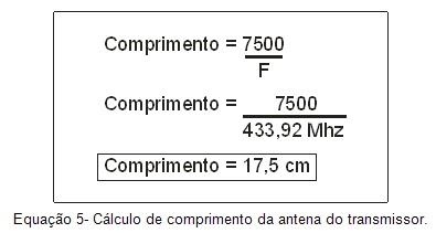 Cálculo de comprimento da antena do transmissor