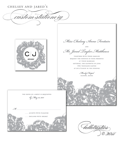 custom peony theme wedding monogram invitation