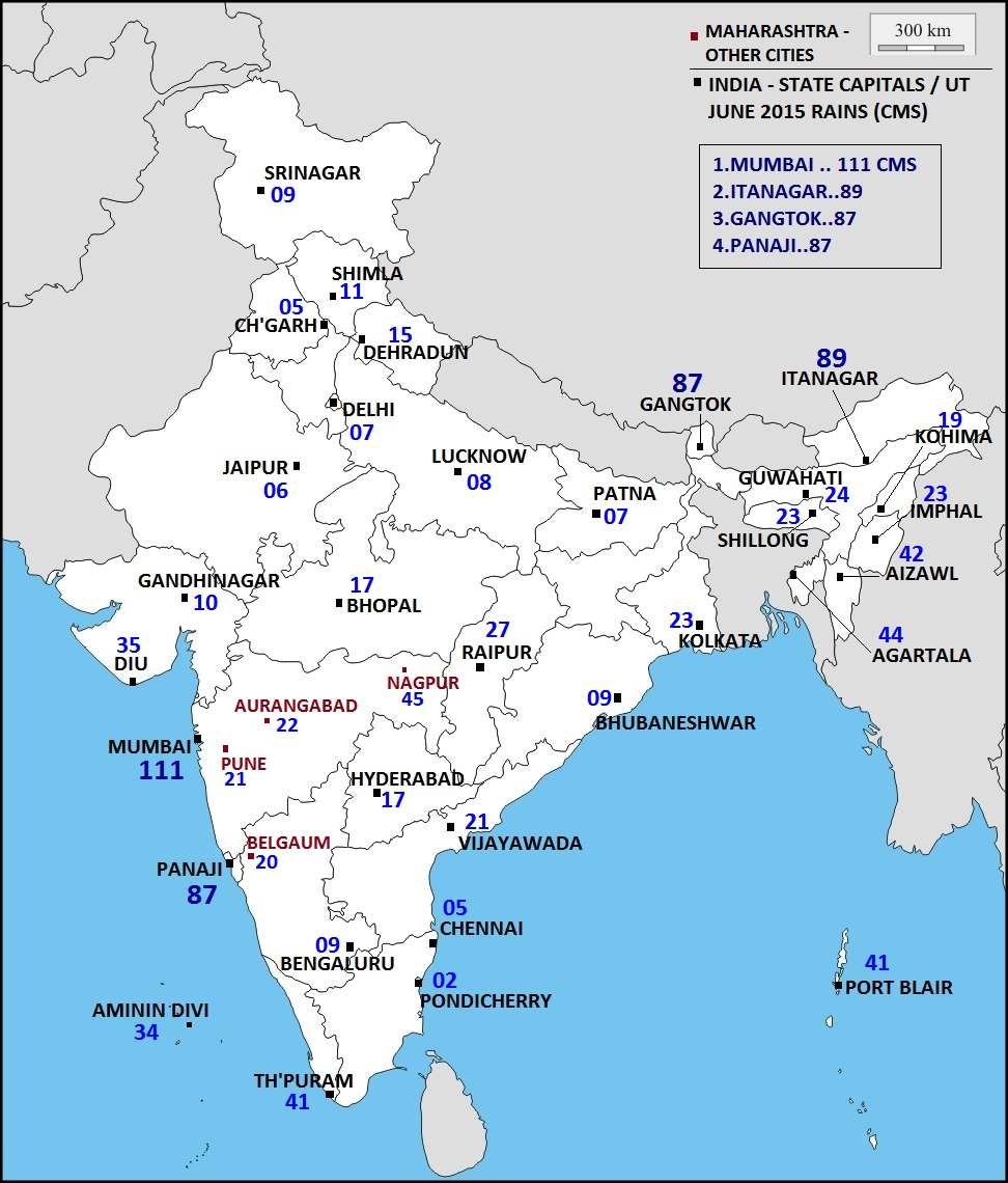 ... the Weather ©: INDIA - STATE CAPITALS / U.T.- JUNE 2015 RAINS (CMS