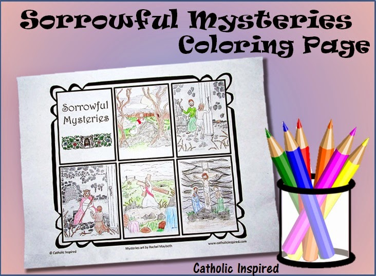Sorrowful Mysteries - Coloring Page - All on 1 Sheet - Catholic ...
