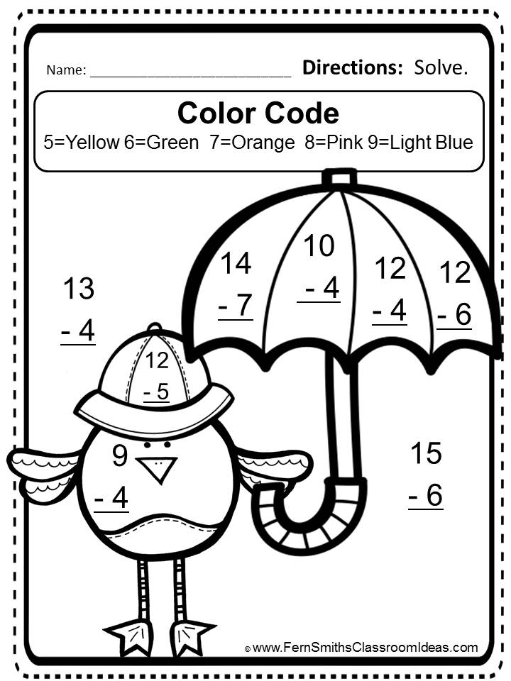 Spring Color By Number Addition Free Mixed Subtraction Task