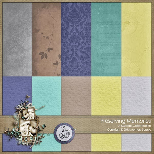 "Free scrapbook papers ""Preserving memory"" from Kaycee"