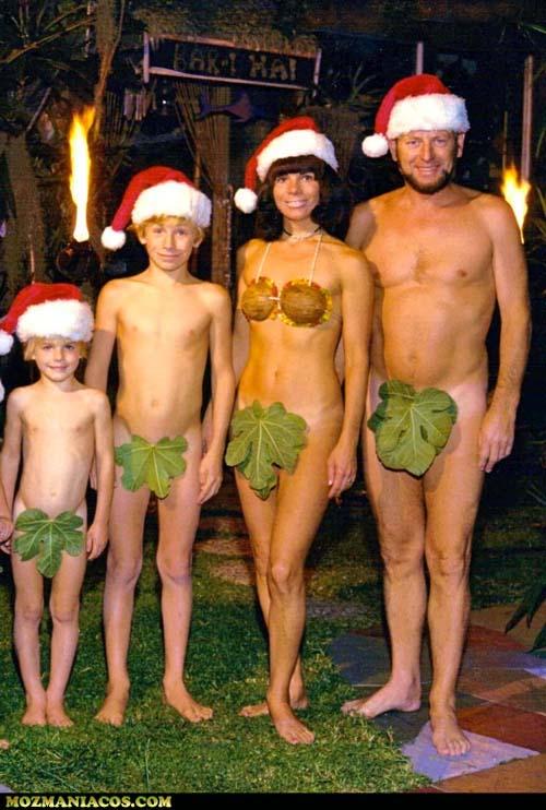 família nua do natal