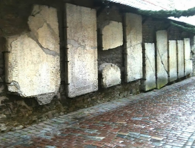 A wall of tombstones in the Old Town in Tallinn