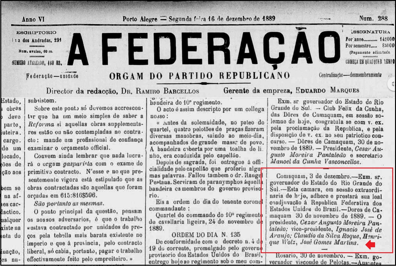 Jornal A Federação de 16 / 12 / 1889