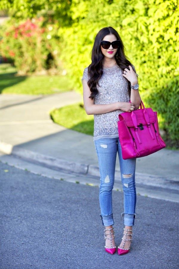 sequin top and distressed jeans