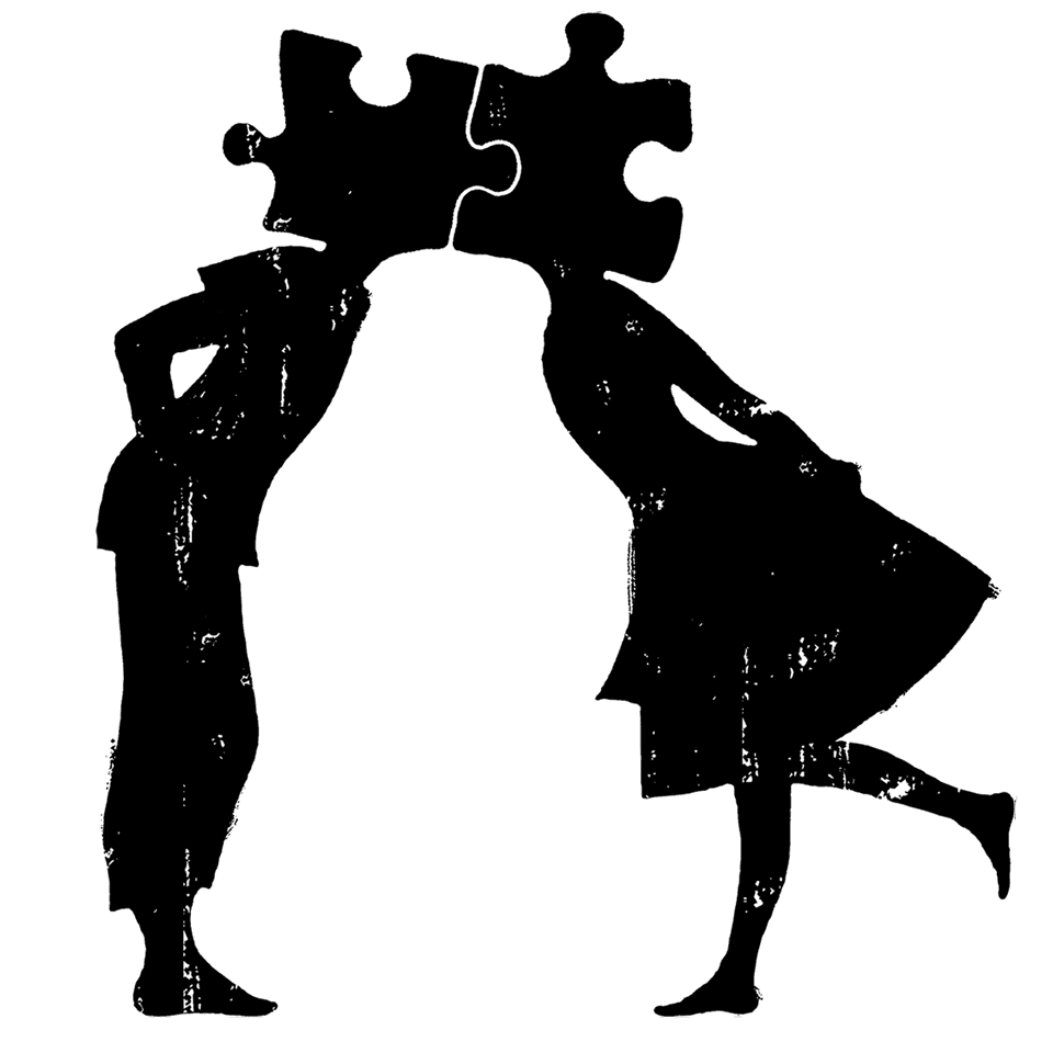 Tegning af kys mellem dreng og pige, der passer sammen som puslespils brikker