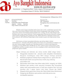 Surat Keberatan atas Situs Penghina Agama