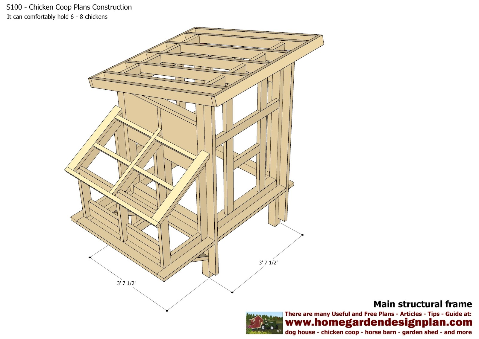 Home garden plans s300 chicken coop plans construction for Plans chicken coop