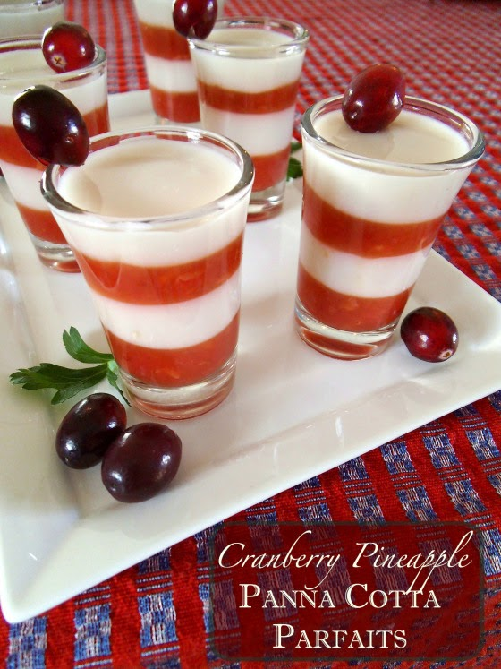 Cranberry Pineapple Panna Cotta from Swirls and Spice