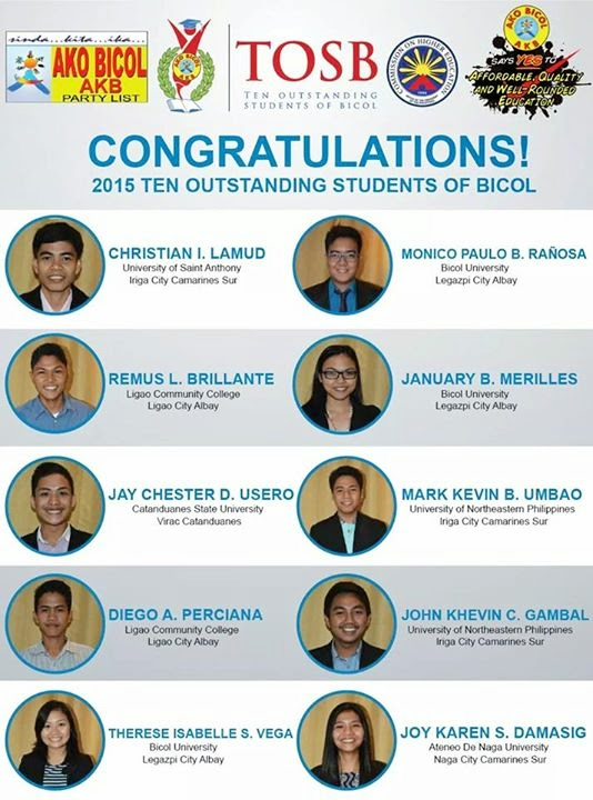 2015 Ten Outstanding Students of Bicol