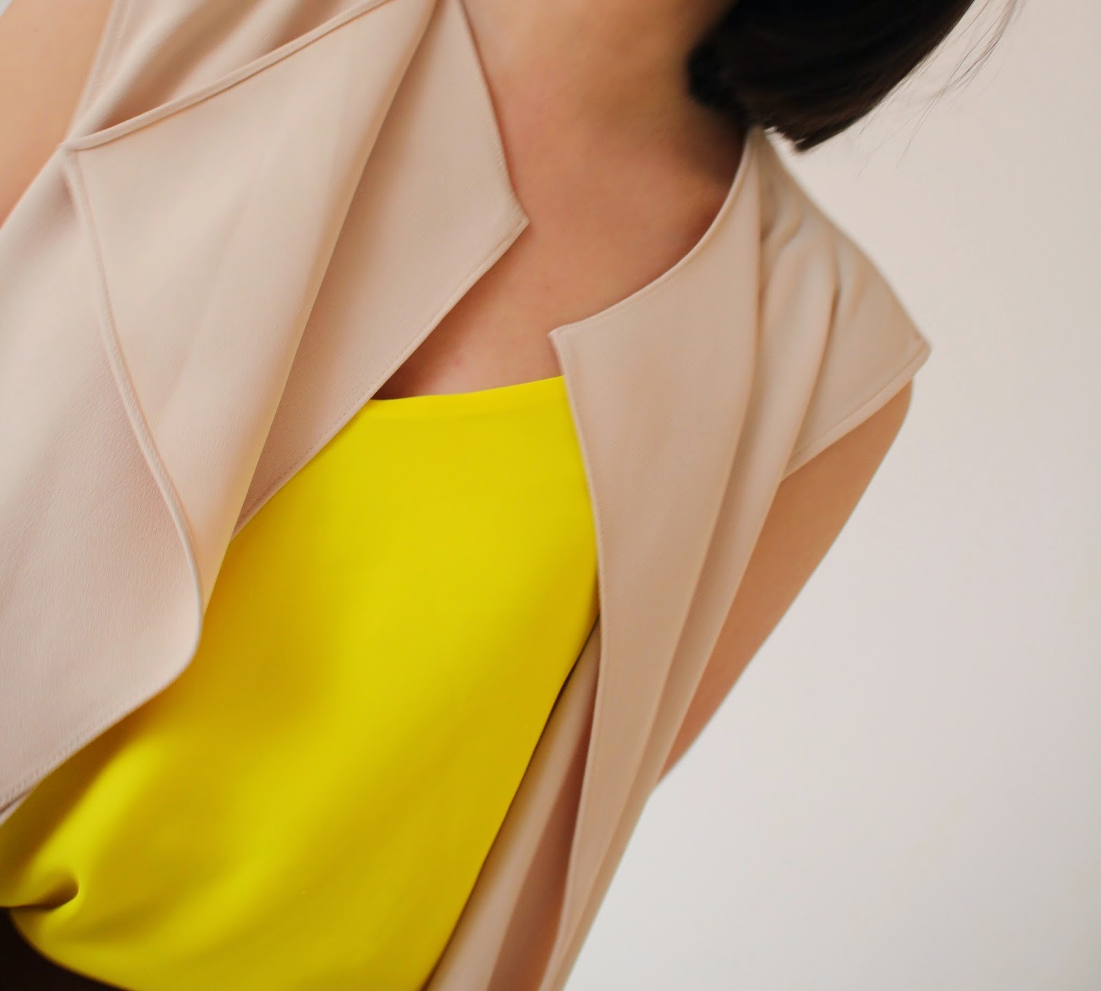 bright colors for spring, zara vest, topshop, bright yellow camisole