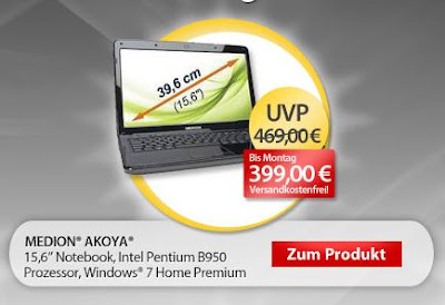 15,6 Zoll Notebook Medion Akoya E6221 (MD 97981) bei MeinPaket als OHA für 399 Euro