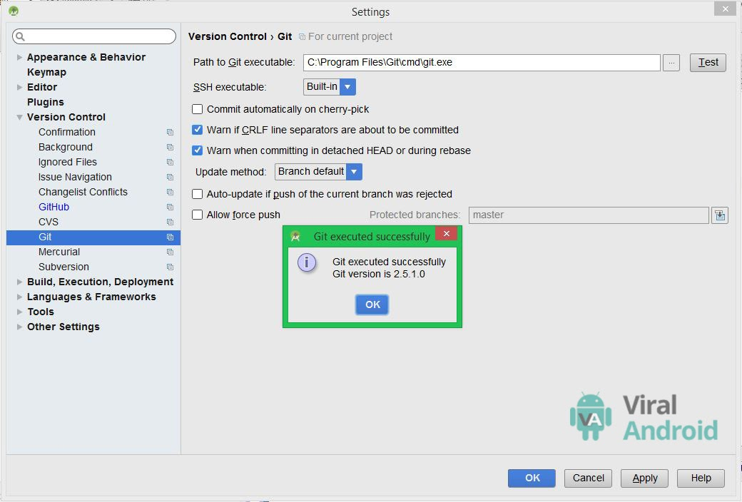 Android Studio Version Control Git Setting