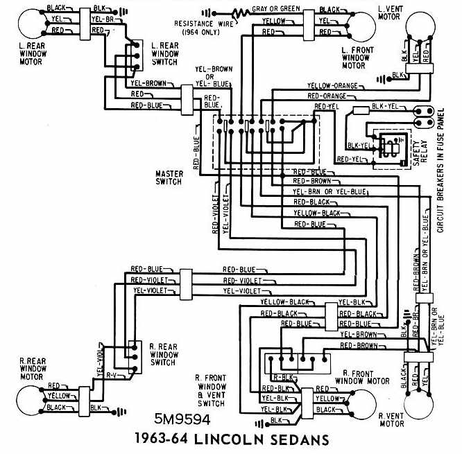 lincoln sedans 1963 1964 windows wiring diagram all. Black Bedroom Furniture Sets. Home Design Ideas