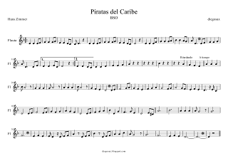 Partitura de Piratas del Caribe para Flauta Travesera, dulce o flauta dulce, (sheet music Pirates of the Caribbean Flute and recorder Score). Para tocar con el primer vídeo (a la vez, suena igual)