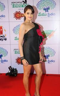 Actress Model Asmitha Sood  Pictures in Short Dress at Memu Saitam Dinner with Stars Red Carpet  28.jpg