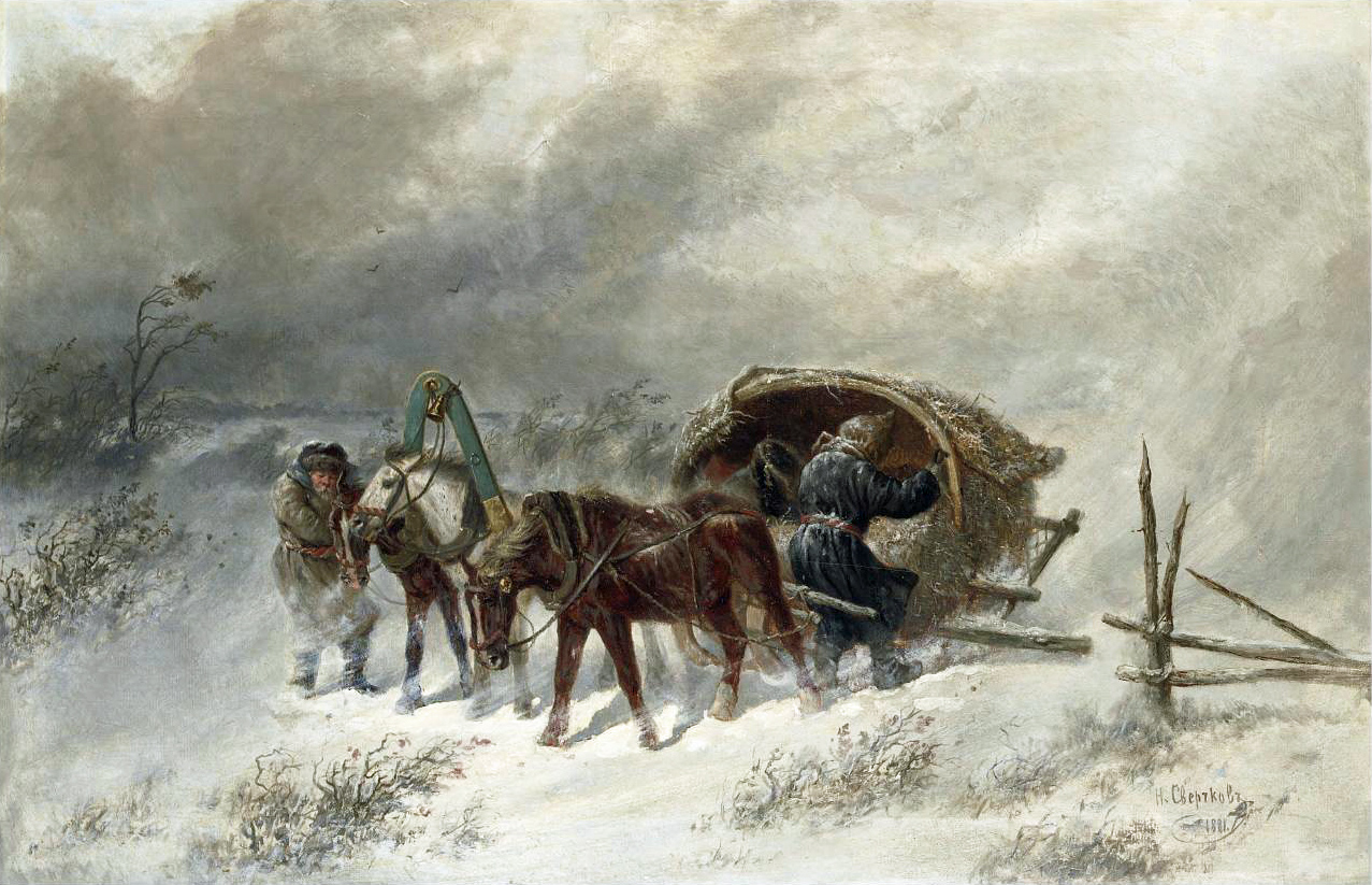 Troika in a blizzard 1881