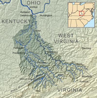Mapa de situación de donde tuvo lugar el enfrentamiento Hatfield - McCoy