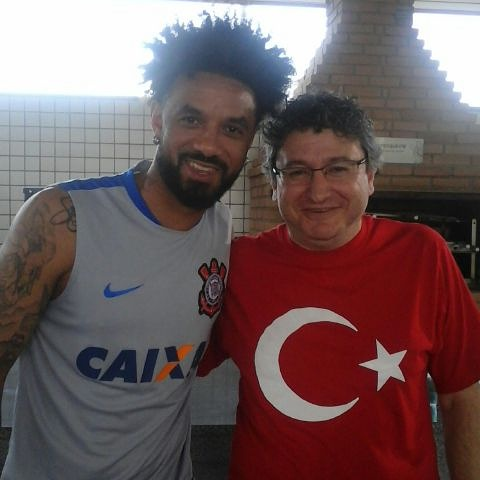 Com Christian Baroni no CT do Corinthians