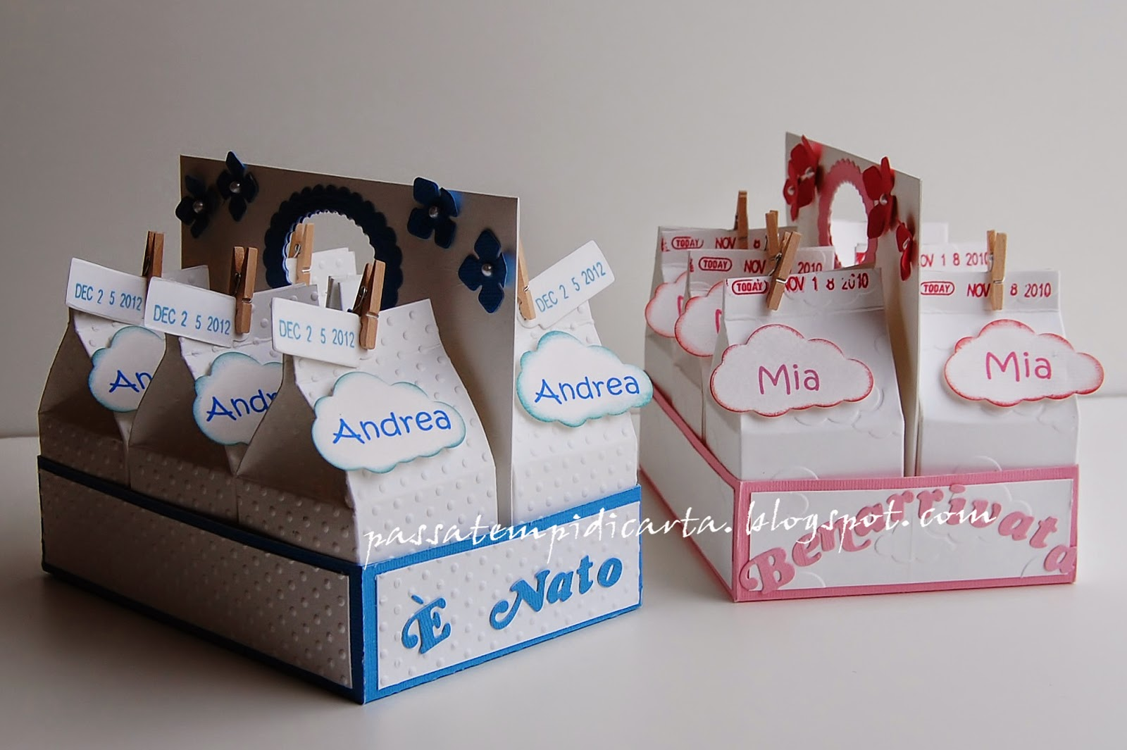 Popolare Passatempi di Carta: Scatoline porta confetti/bomboniera nascita TX31