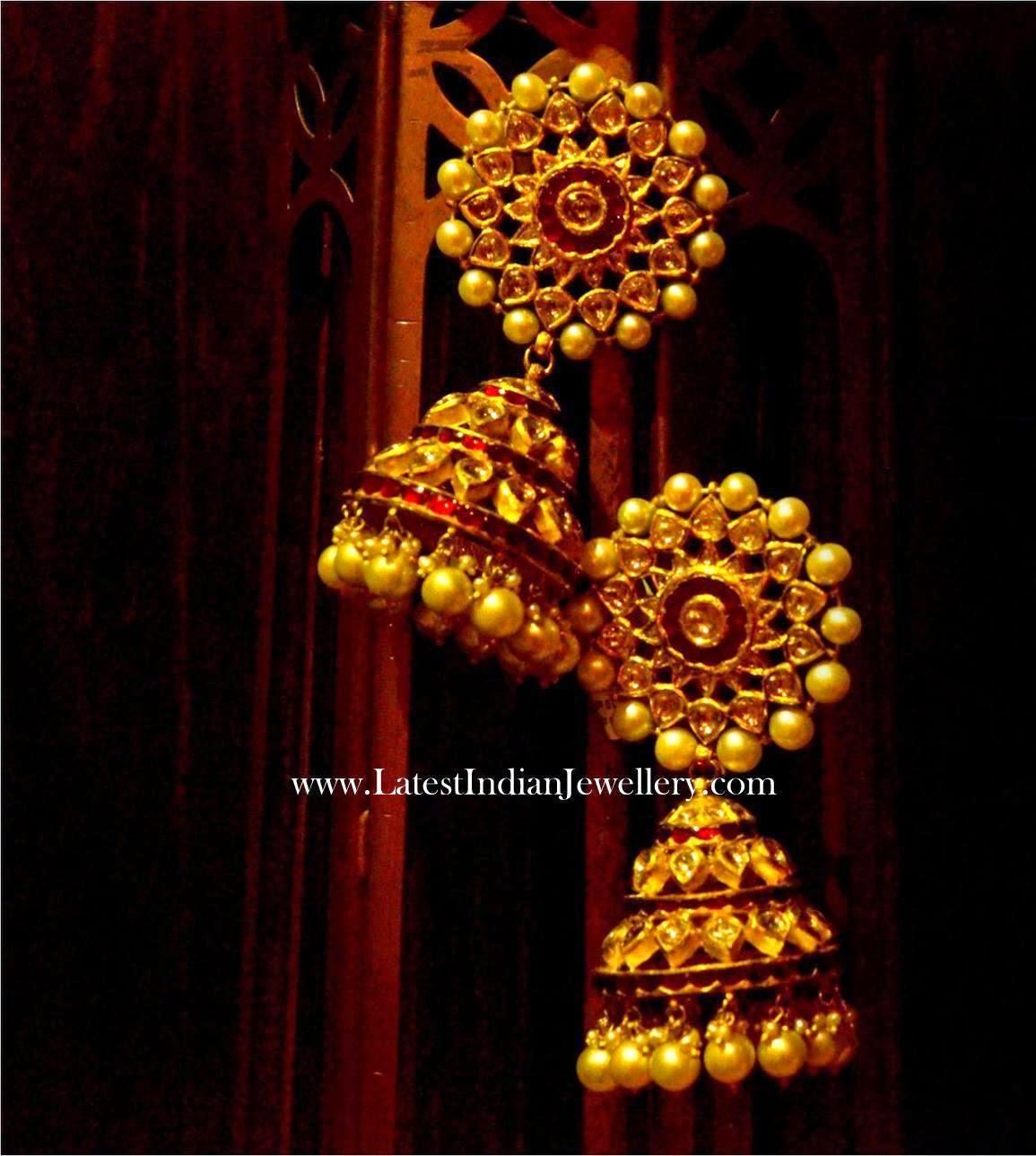 Gold Kundan Jhumkas