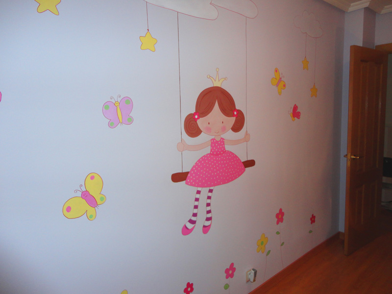 Decopared mural ni a en columpio madrid for Decoracion para paredes infantiles