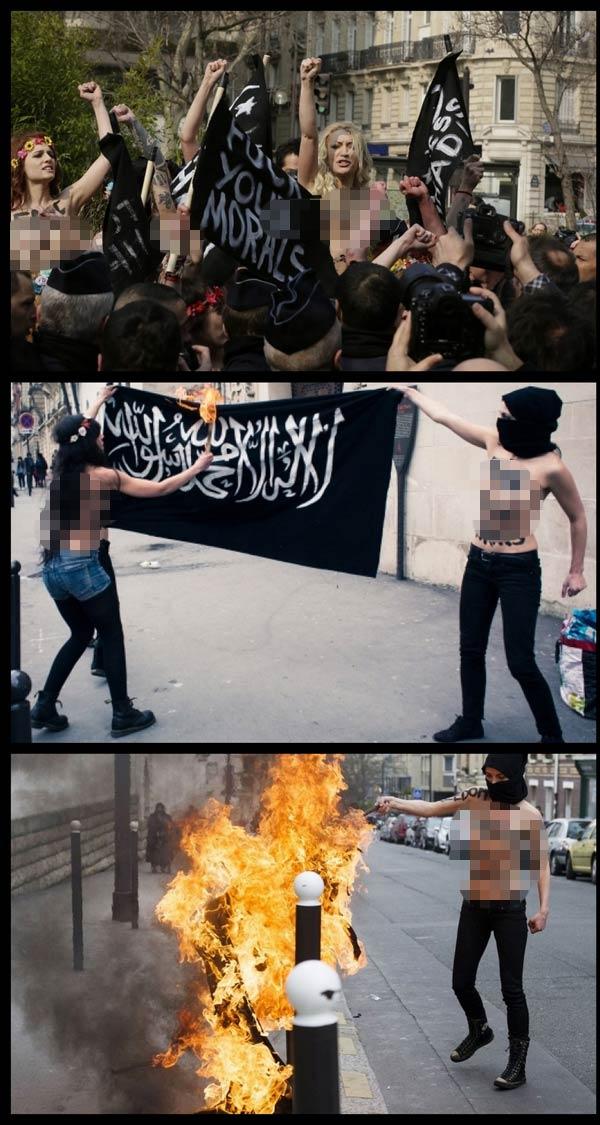 Demo Tanpa Baju Ahli Femen Di Depan Masjid Untuk Membela Amina Tyler