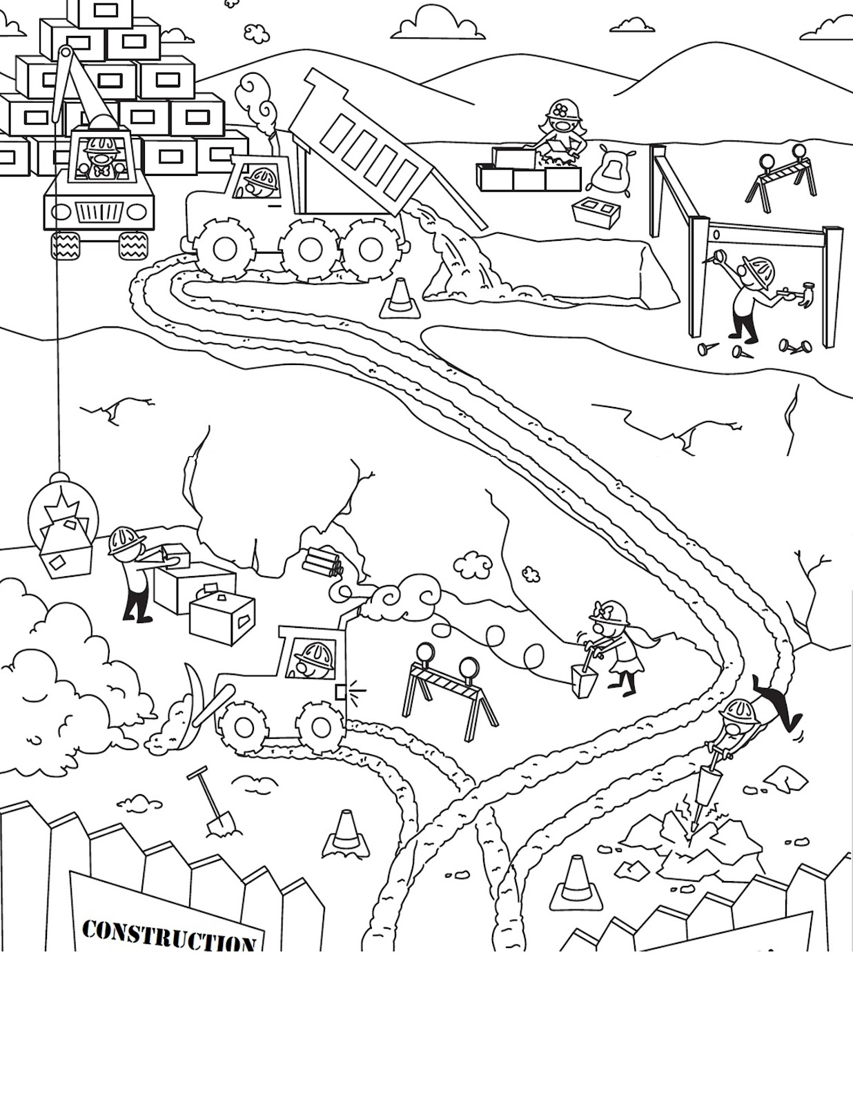 Printable Coloring Websites : Free construction site coloring pages