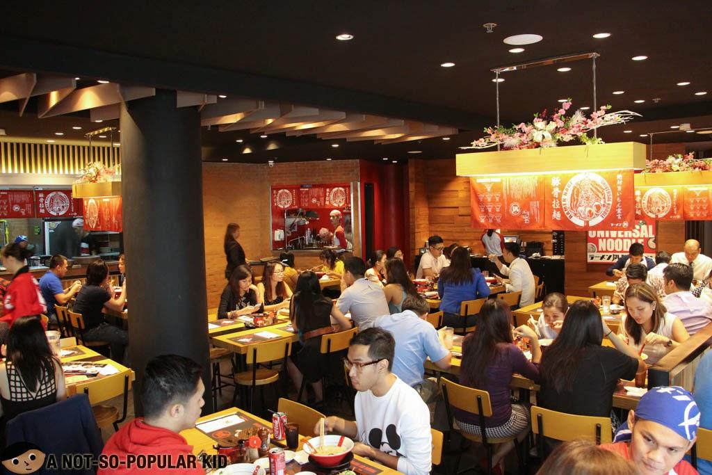 Ramen Nagi's bustling interior - Greenbelt 3, Makati Branch