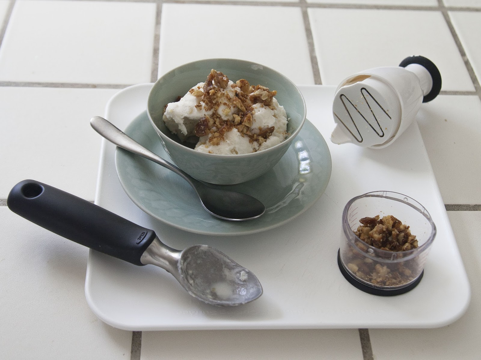 the best of summer. sweet corn and chipotle chili ice cream with walnut chili brittle. thanks oxo!