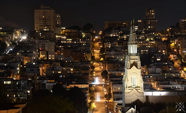 Russian Hill by night