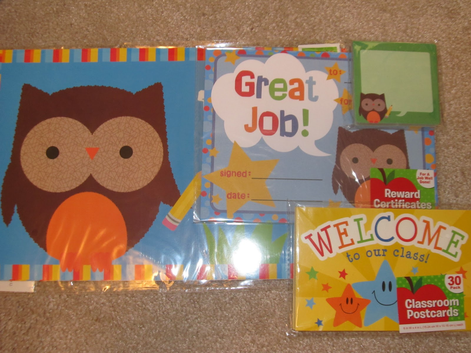 teacher attitude cute owl welcome poster owl certificates and owl post it notes from walmart 88 cents these are the welcome postcards i used this year