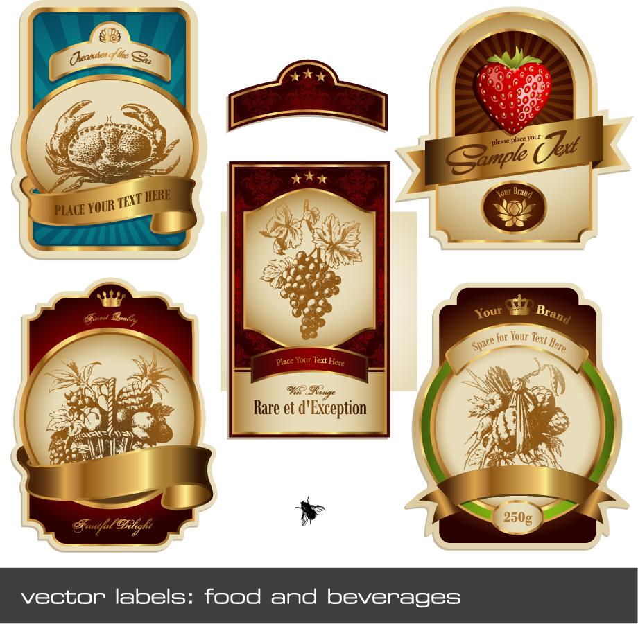 金色に輝く豪華なラベル見本 european gorgeous label vector イラスト素材