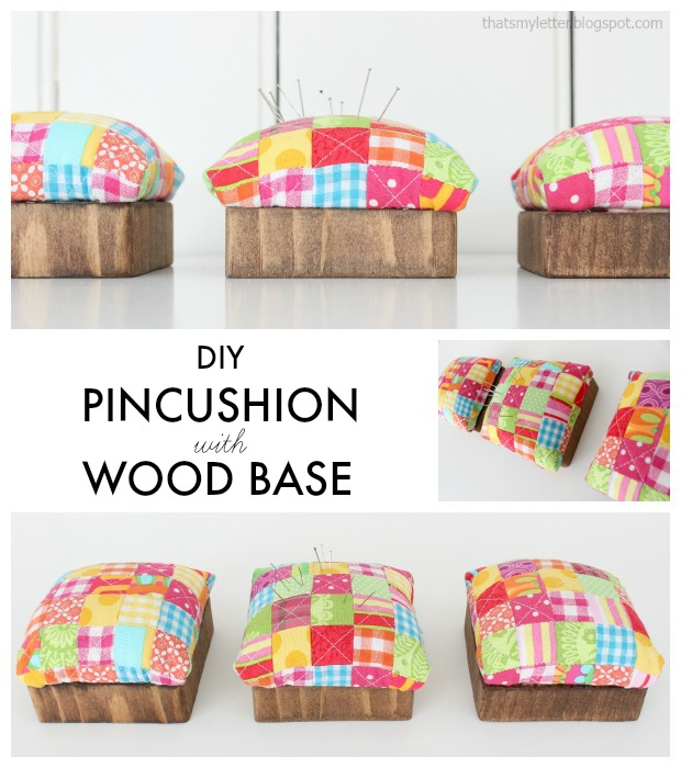 quilted pincushion wood base