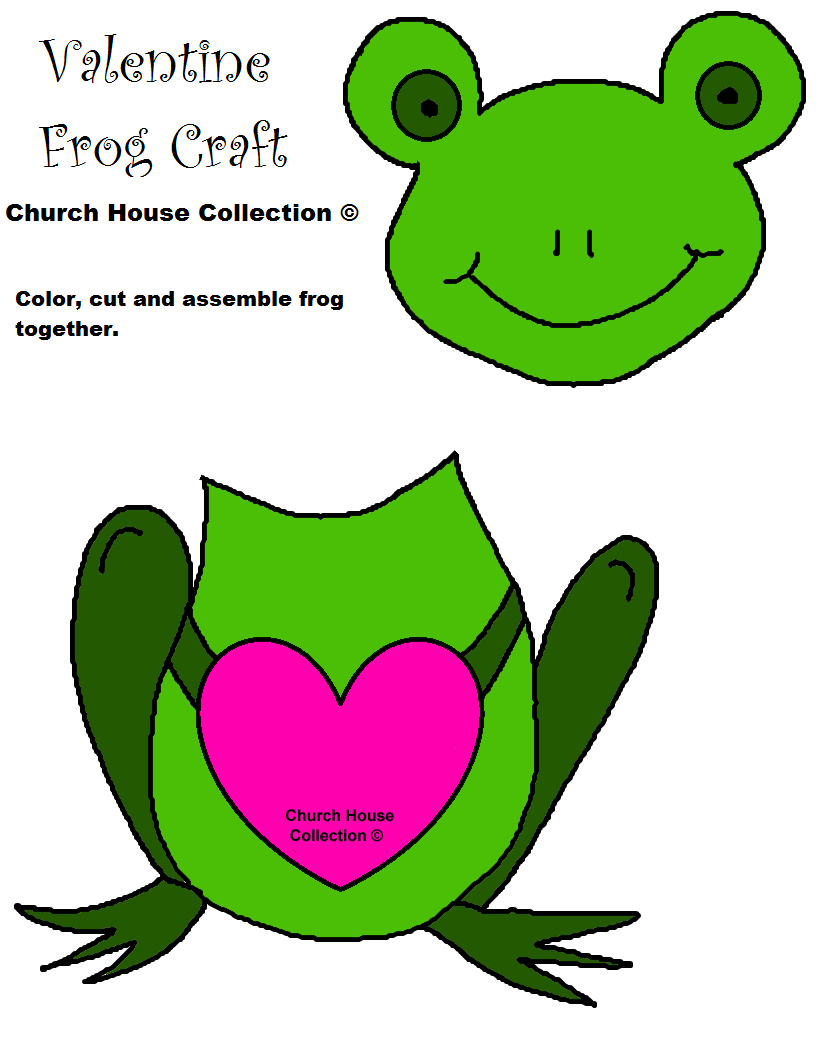 Frog Valentine Heart Craft Cutout For Kids
