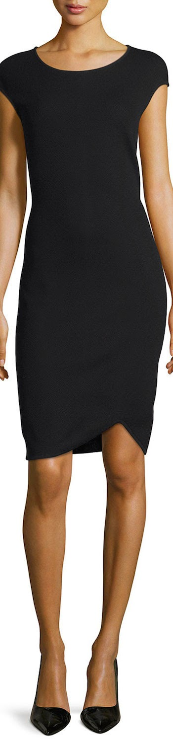St. John Collection Milano Pique Knit Cap-Sleeve Dress in black