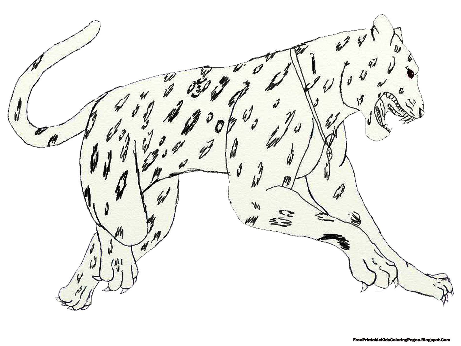 Jaguar Jumping Coloring Page high quality