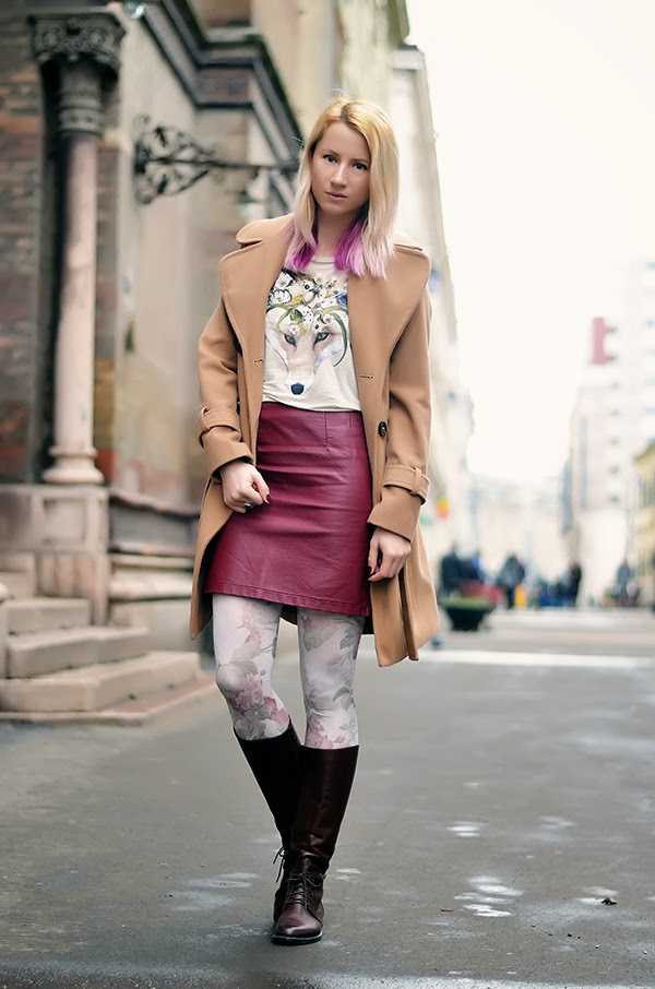 floral t-shirt fox print burgundy leather skirt camel coat